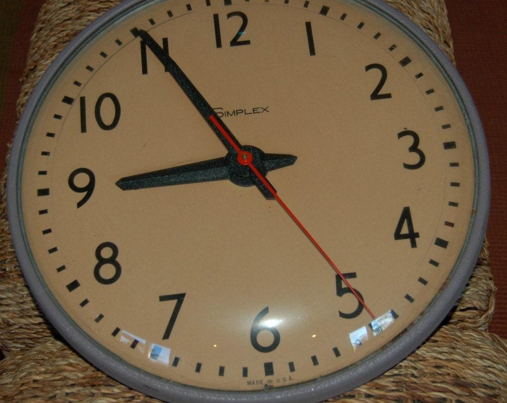 school simplex clock industrial chic