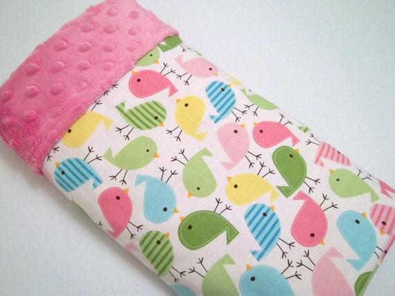 Urban Zoologie Bird Print /Soft Minky Baby Blanket ,Ready to Ship