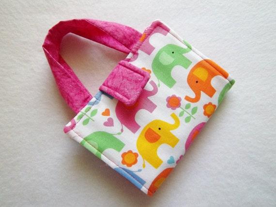 Pink Elephant print Crayon Wallet. Ready to Ship