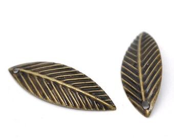 Leaf Charms Antique Bronze 75 pcs