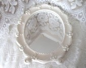 TREASURY ITEM Shabby/Cottage/Romantic/ oval mirror with scalloped edge and bow around frame