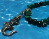 Pewter Alligator Necklace with Wooden and Malachite Chip Beads