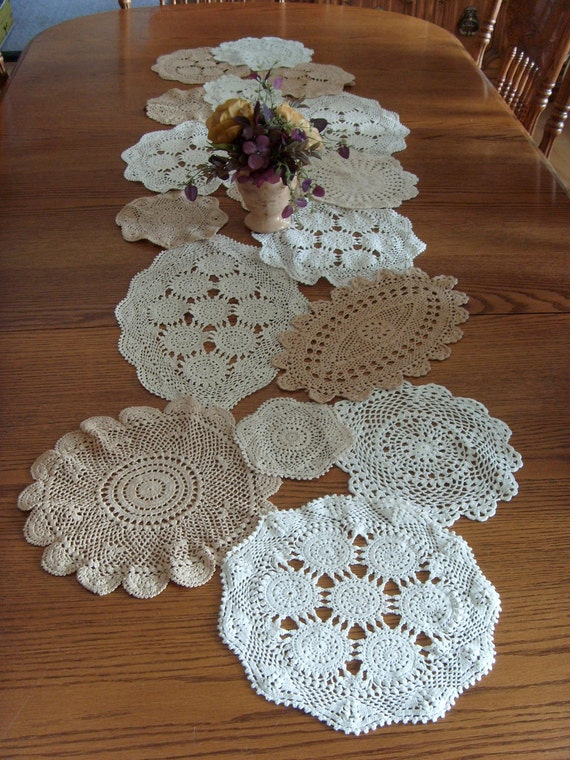 Vintage Doily Table Runner Ecru and White. Upcycled