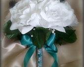 White ROSES with TEAL ribbon and Black feathers Bridal BOUQUET and Boutonniere