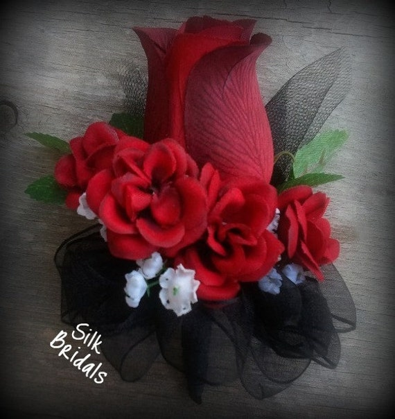 Stairway Decorated With White Tulle And Red Silk Roses: Wrist Corsage Dark Red Roses Wedding Flowers Mother By