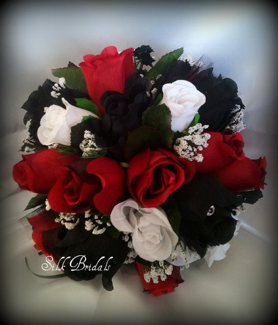 pics for red black and white wedding flowers. Black Bedroom Furniture Sets. Home Design Ideas