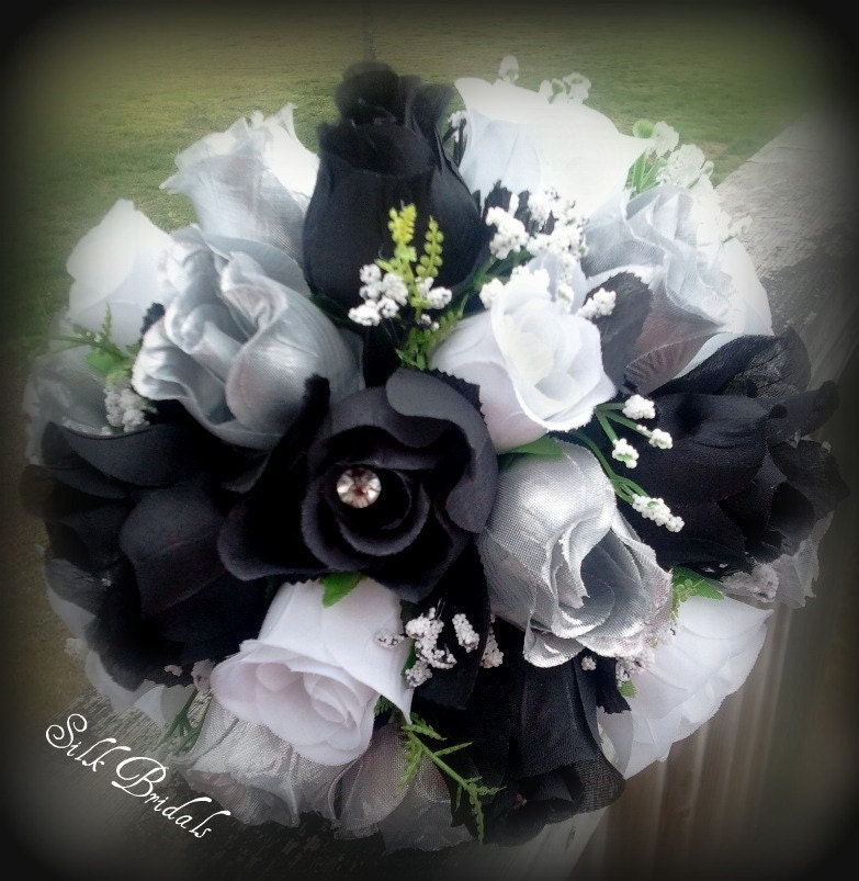 White Wedding Flowers: Black White Silver ROSES Bridal BOUQUET Bridesmaid Silk
