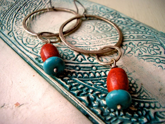 Bali Hoops:  Coral, Turquoise and Sterling Silver