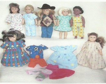 Doll Clothes Pattern fits American Girl Mini Dolls 6.5  6 1/2 inch size dolls
