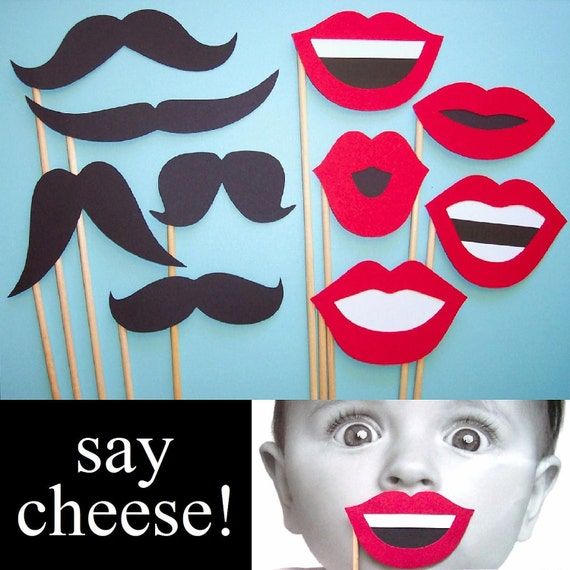 Set of 10 - Photo Booth Props - Lip and Mustache Combo