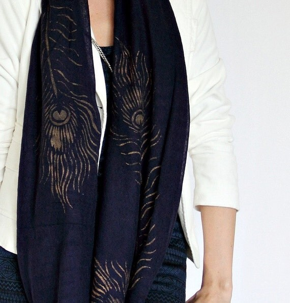 Peacock Infinity Scarf in Navy Blue Hand Painted