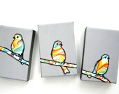 "3 Sparrows on a Branch, 3 4"" x 6"" original paintings"