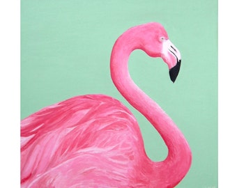"Pink Flamingo - 16"" x 16"" - Original Painting"