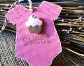 Pink cupcake tag for baby shower