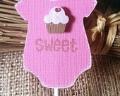 Baby shower pink cupcake topper