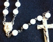 Handmade white bead rosary