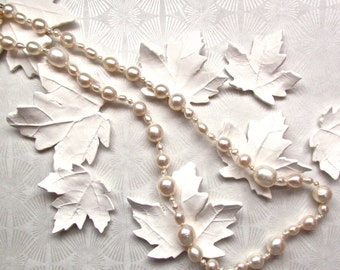 White pearl necklace, Tears from the Moon Necklace in White Freshwater Pearl