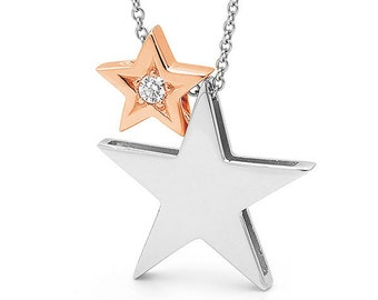 2 Stars Necklace, 9ct white gold STAR and 9ct Rose Gold diamond set baby star necklace