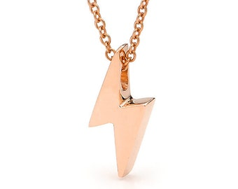 Solid Rose Gold Baby Lightning bolt Necklace
