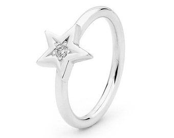 Diamond Star Ring, White Gold Baby Star diamond Ring