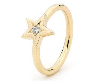 Diamond Star Ring, Small Baby Yellow Gold and diamond Set Ring
