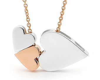 Heart Necklace, Sterling silver and 9ct rose gold  '3 Hearts' Necklace, Valentine's day, Love necklace