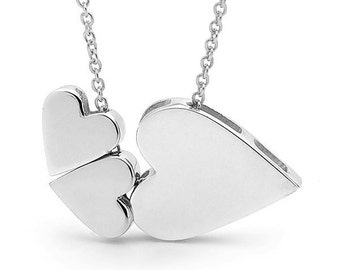 Sterling silver trio of HEARTS Necklace on a silver chain