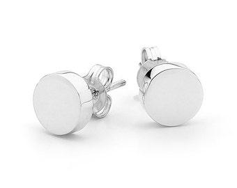 Small sterling silver disc earrings