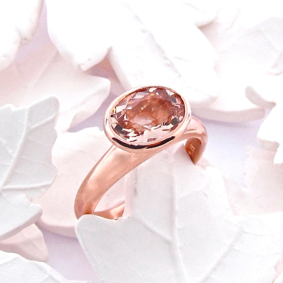 9ct Rose Gold and Morganite Small Simplicity Engagement Ring