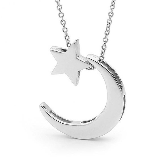 Moon and Star Necklace, Sterling Silver CRESCENT Moon and BABY STAR Pendant on a silver cable chain
