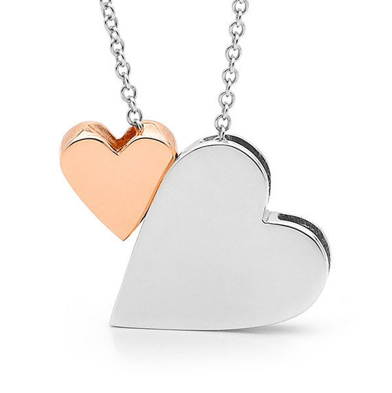 Valentines Day, 2 hearts Necklace, Sterling silver King of HEARTS and 9ct Rose Gold BABY HEART Necklace,