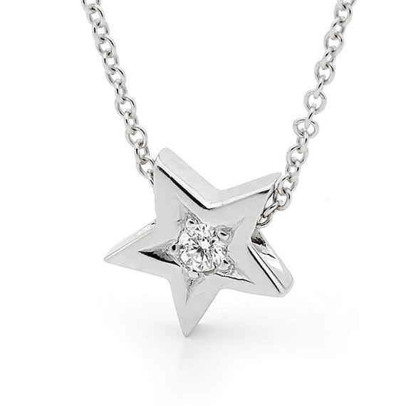Diamond Star Necklace, Small White Gold natural Diamond Star Pendant on 42cm White Gold cable chain