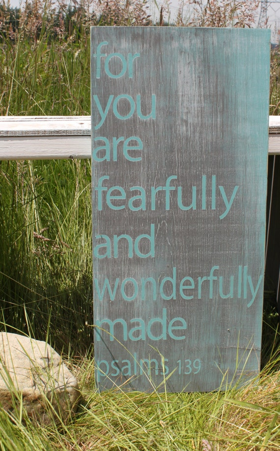 Distressed Aged Pine Wood Wall Art YOU ARE...WONDERFULLY Made