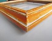 Vintage distressed orange picture frame - Rustic 7x7 square tangerine orange handpainted frame