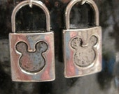 Darling Mickey mouse lock earrings with free silk gift bag