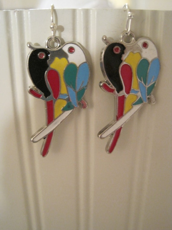 Fun parrot love bird earrings with free silk gift bag