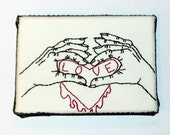 handmade embroidered wall art on canvas two hands and dripping red love heart