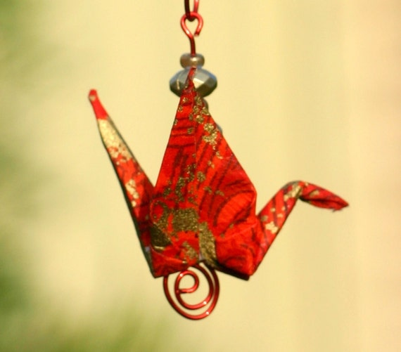 Origami Paper Crane Mobile/Suncatcher - Oriental Red - 2 for 1 Christmas Sale