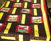 Trains, Planes and Automobile twin kids Quilt W/ 2 pillow cases
