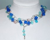 Blue Cubed beaded wire crochet necklace