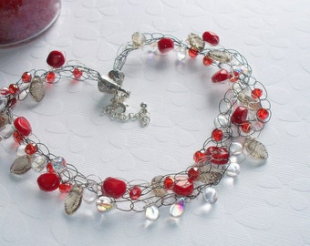 red necklace, crochet jewelry, crystal beaded necklace,  silver and red necklace