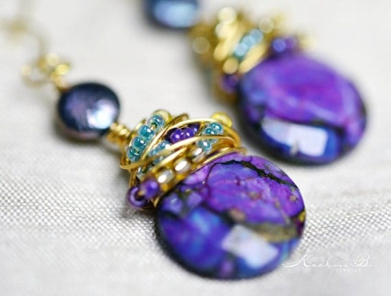 Purple Turquoise and Freshwater Pearl Gold Wire Wrapped Earrings with Seed Beads
