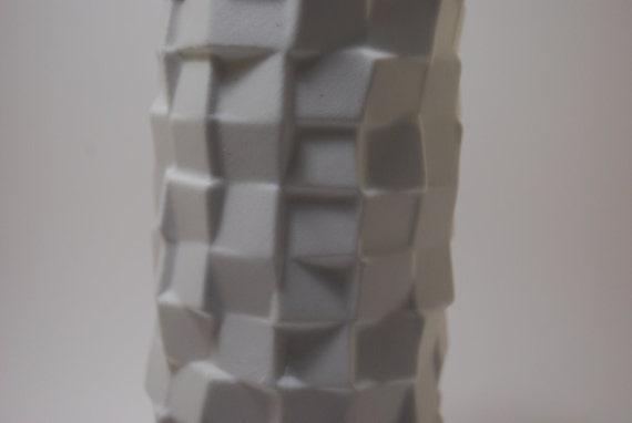60s Matte White Bisque OP Art Vase by Scherzer Germany Rare