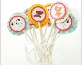 24 pcs. personalized theme cupcake toppers