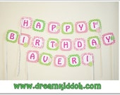 Girls Birthday Banner with LOLLIPOP AND CANDY theme-- can be personalized/ customized