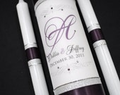Customized Wedding Unity Candle - Wedding Candles - Monogram Wedding Candle - Unity Candle - Purple Wedding