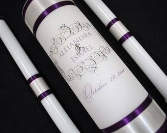 Wedding Unity Candles, Unity Candle, Weddings, Wedding Candle, Monogram Unity Candle, Eggplant Wedding
