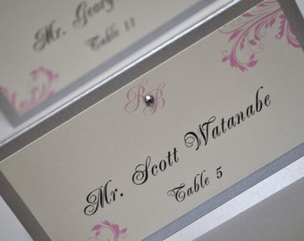 Wedding Escort Cards - Silver Wedding Place Cards - Printed and Assembled