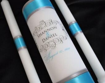 Wedding Unity Candles, Unity Candle, Weddings, Wedding Candle, Monogram Unity Candle, Turquoise Wedding