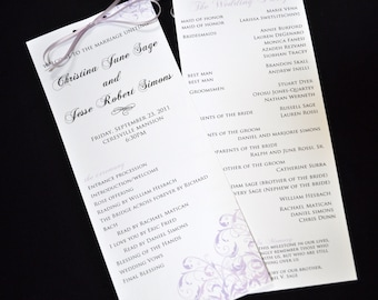 Tea Length Wedding Programs - Sleek Wedding Programs - Ceremony Programs